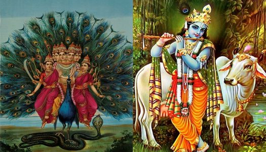Left: Lord Murugan on His Mount Peacock. Right: Lord Krishna with Peacock feather in his Crown