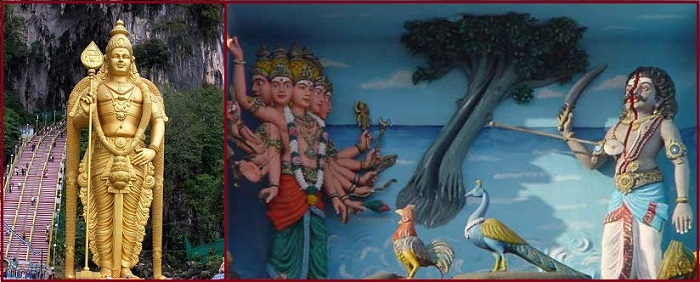 Left: Idol of Lord Murugan with Vel in his hand. Right: Lord Murugan killing daemon with his Vel