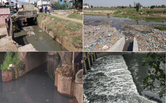 Drains from different states of India discharging wasterwater into Ganges River