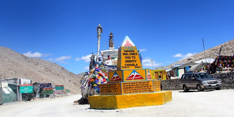 Chang La lies en route to Pangong Tso from Leh City. The pass is higher in elevation than the Khardung La