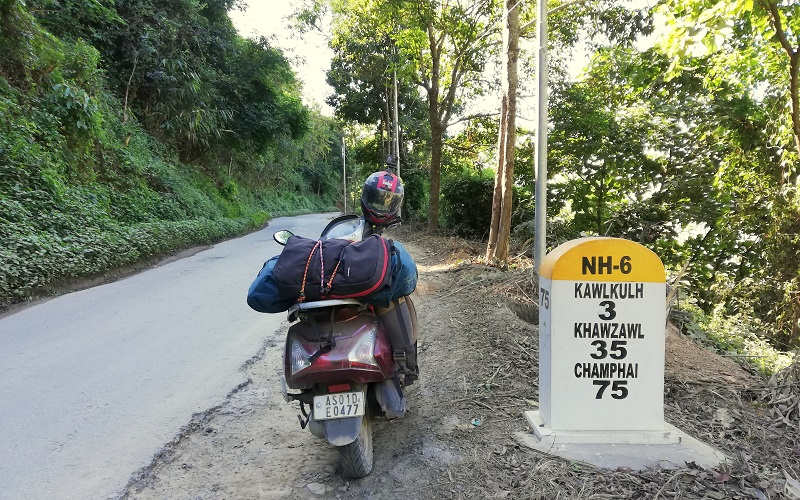 A Milestone on Aizwal-Champhai Road and my Scooter