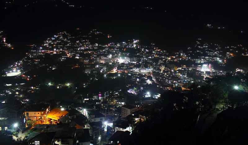Aizwal City In Night Seen From Aizwal City View