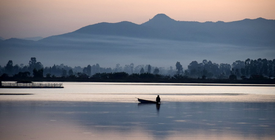 Evening view of Loktak Lake in Manipur