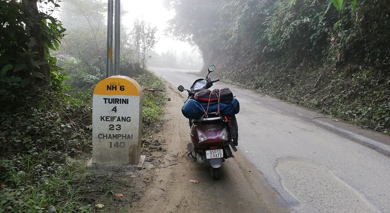 My Scooter During Ride From Aizwal To Champhai