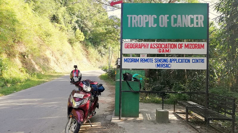 Tropic Of Cancer Board at S.Maubuang In Mizoram