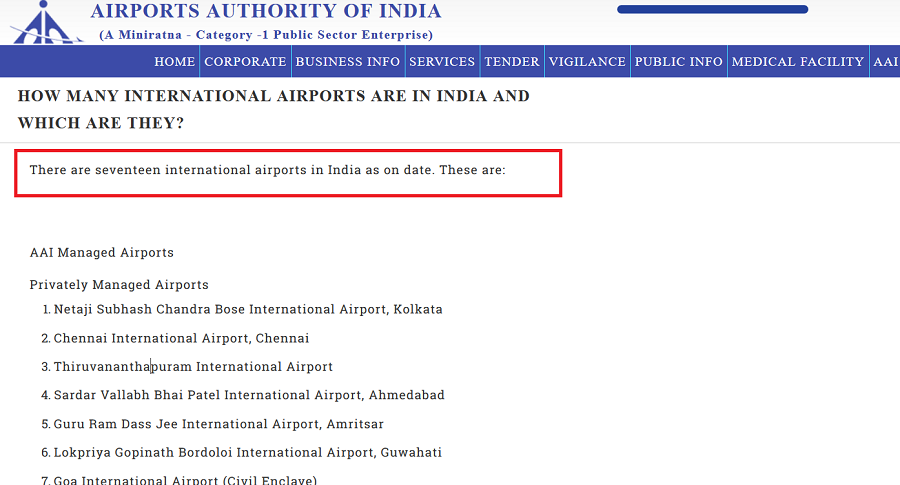 A List Of Airports Managed By Airports Authority of India