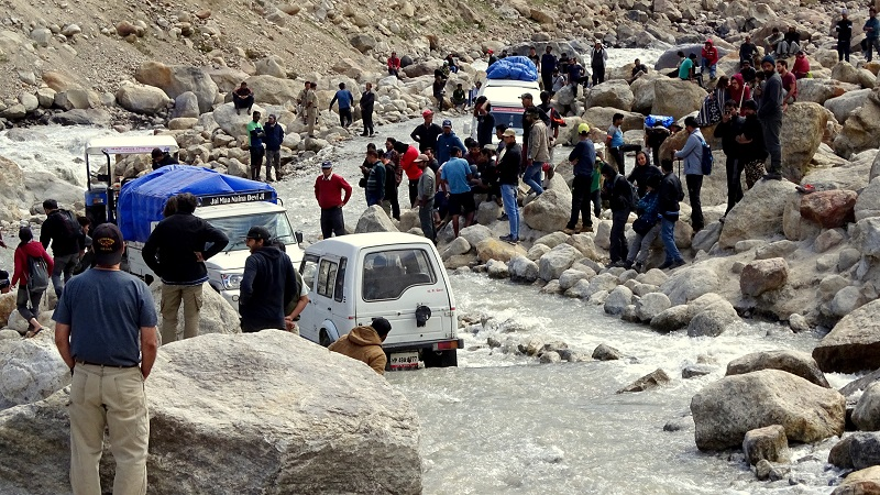Water Crossing At Chota Dara In Spiti Valley